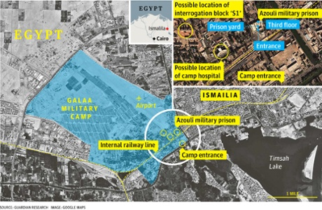 Map showing the Galaa military camp in Ismalila and the location of the Azoulu military prison within it