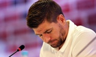 Steven Gerrard was a picture of absolute misery at England's press conference for Costa Rica