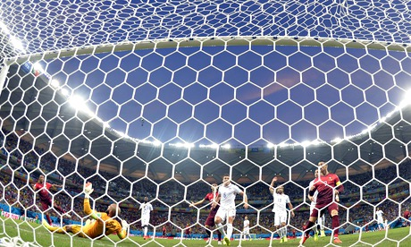 Back of the net: A goal being scored in a Fifa World Cup game on 22 June 2014.
