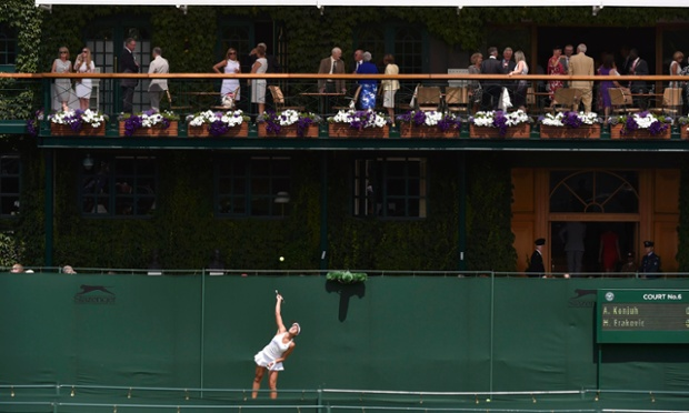 Marina Erakovic of New Zealand serves to Ana Konjuh of Croatia during their women's singles match.
