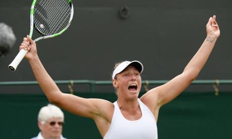 Yanina Wickmayer celebrates her win over Samantha Stosur.
