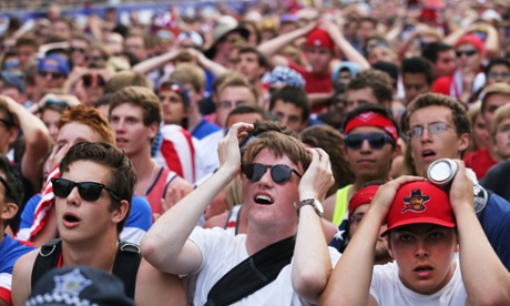Fans in Grant Park react to Portugal's final goal.