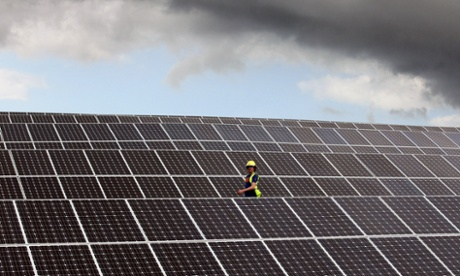 Lines of solar panels near Truro, England. Sunny weather has helped solar power set new records in the UK