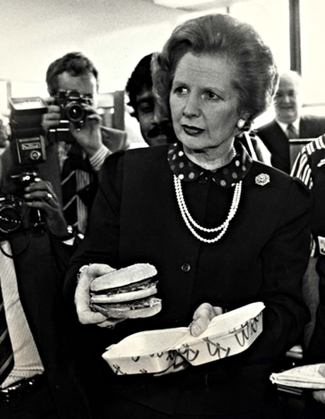 The then prime minister Margaret Thatcher prepares to tuck into a BIg Mac, 1983.
