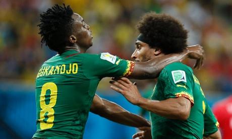 Benjamin Moukandjo and Benoit Assou-Ekotto enjoy a full and frank discussion over the best way to beat Croatia