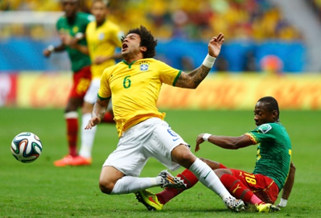 Cameroon's Enoh Eyong takes out Marcelo.