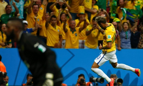 Brazil's Neymar celebrates puting Brazil back in front, scoring his second.