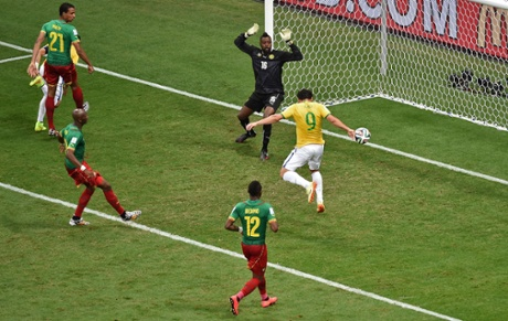 Fred scores his first for the tournament...