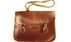 Traditional leather school satchel with buckles