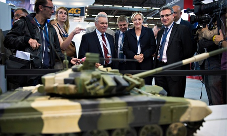 Marine Le Pen at a recent arms fair. The Front National leader had hoped to create a pan-European extreme Right alliance. Photograph: lCHAM/Sipa/Rex