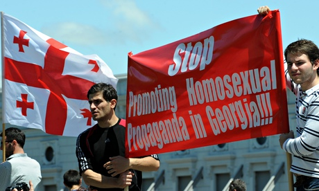 Georgian Orthodox believers and anti-gay activists demonstrate in Tbilisi