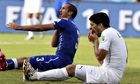Italy's Giorgio Chiellini claiming he was bitten by Uruguay's Luis Suarez, right, in Natal
