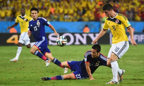 James Rodriguez chips the keeper.