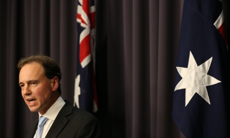Environment Minister Greg Hunt at a press conference in Parliament House.