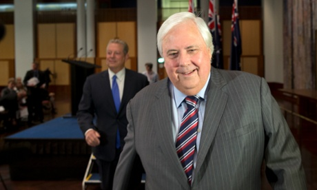 The member for Fairfax and PUP Leader Clive Palmer with former US vice president Al Gore.