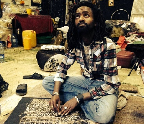 Leikun Nahusenay in his studio in Addis Ababa