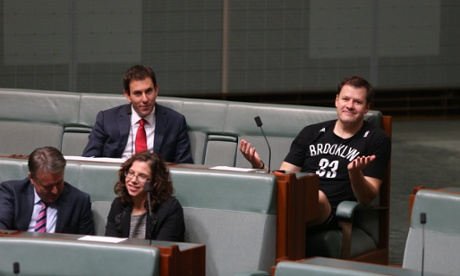 Chifley MP Ed Husic can't resist a chance to advertise basketball as the carbon tax repeal bills pass. With Jim Chalmers, Amanda Rishworth and Joel Fitzgibbon.