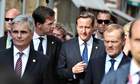 David Cameron speaking with the Dutch prime minister Mark Rutte in Ypres, 26 June 2014.
