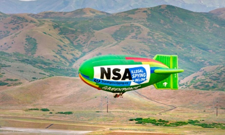 Blimp flying over NSA's Top Secret facility, where they spy on Americans
