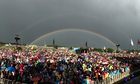 A double rainbow is seen from the Pyramid stage at Glastonbury.