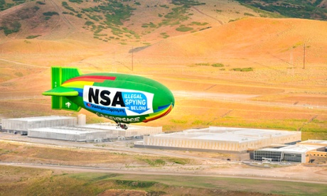 The Greenpeace blimp flies over the NSA data centre in Utah in a protest against mass surveillance. Photograph: Greenpeace