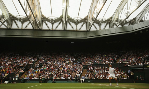 Under the dome. Rafael Nadal in action.