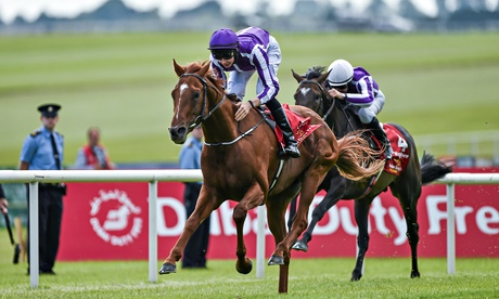 Australia, with Joseph O'Brien up, on his way to winning the Dubai Duty Free Irish Derby