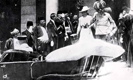 Archduke Franz Ferdinand leaves the town hall in Sarajevo moments before he was assasinated by Gavri