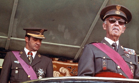 Prince Juan Carlos (left) and General Franco in 1974