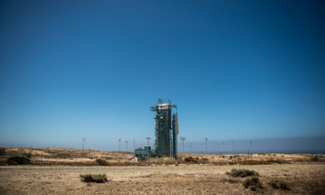 The upper levels of the launch gantry, surrounding the United Launch Alliance Delta II rocket with the Orbiting Carbon Observatory-2 (OCO-2) satellite onboard, is shown at the Space Launch Complex 2 at Vandenberg Air Force Base, California.