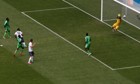 Vincent Enyeama makes a great save from Paul Pogba's shot.
