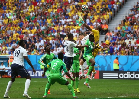 Pogba heads the ball past Vincent Enyeama for the first goal.