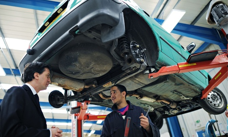 Ed Miliband meeting apprentices at the Bedford Training Group last year.