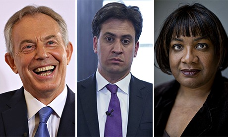 Tony Blair, Ed Miliband and Diane Abbott