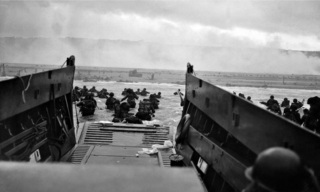 US troops wading towards Omaha beach during the Normandy invasion on D-Day. Photograph: Robert F. Sargent/Time & Life Pictures/Getty