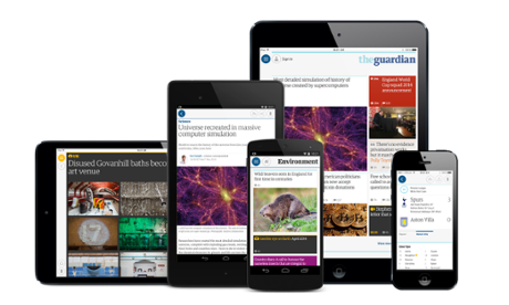 Mobile devices showing the Guardian news app 3.0