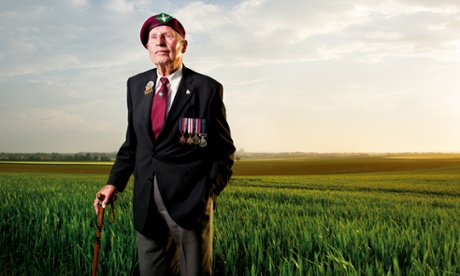 William Bray of the 7th Battalion, The Parachute Regiment, Drop Zone N, Ranville. This photograph was taken on 6 June 2013, 69 years to the day after Bray had parachuted into the fields behind him to play his part in the liberation of Europe.