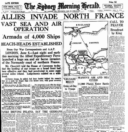 The Sydney Morning Herald front page, 7 June 1944.