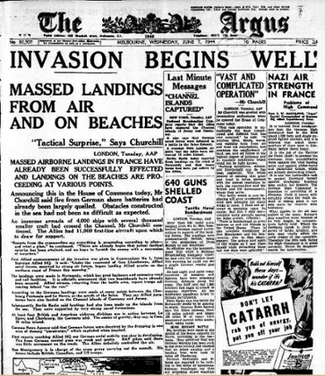 The Argus front page in Melbourne, 7 June 1944.