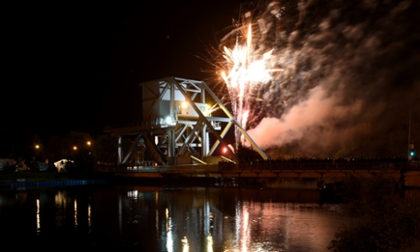 Fireworks mark the moment that Pegasus Bridge was captured by British troops on 6th June 1944, which signalled the beginning of D-Day.