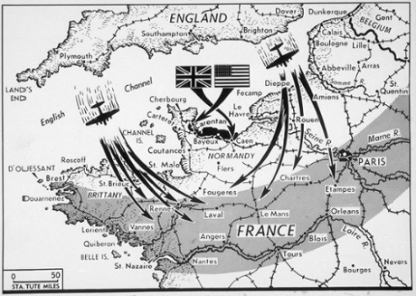 This June 1944 map shows a blackened area, at centre, on the Normandy beachhead indicating the approximate area captured by the Allies at the end of four days of battle after D-day, as continued Allied aerial bombings struck at objectives in the shaded belt.