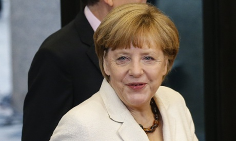 Angela Merkel pictured in Brussels yesterday.