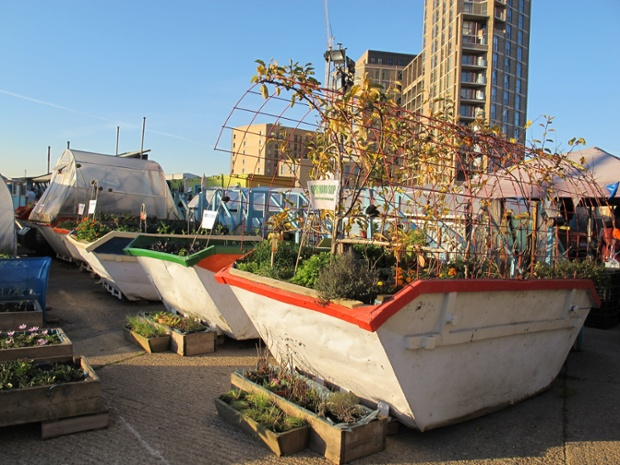 The Skip Garden in Kings Cross is a mobile allotment, built by a variety of local partners as an example of urban organic agriculture