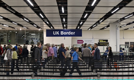 Welcome to Britain? Passengers queue at Gatwick's passport control.