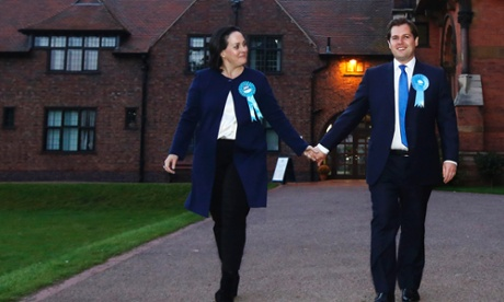 Conservative party candidate Robert Jenrick and wife Michal leave after winning the Newark by-election