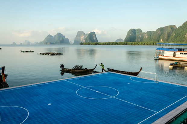 A floating pitch at Ko Panyi Muslim stilt village in southern Thailand
