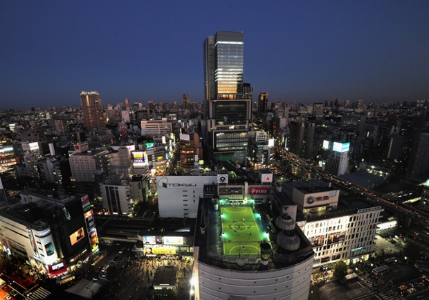 The Adidas Futsal Park in Tokyo sits on top of the Tokyu Toyoko department store, high above Shibuyu crossing