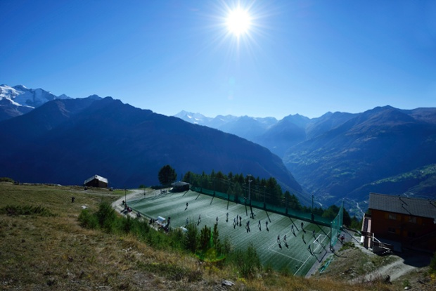 2000 metres above sea level, the Ottmar Hitzfeld Stadium in Switzerland is Europe's highest pitch
