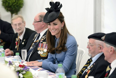 The Duchess of Cambridge meets veterans in Arromanches-les-Bains today.