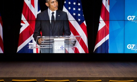 Transmission of the closing Press Conference held by David Cameron and Barak Obama  G7 summit, Brussels, Belgium